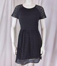 Free People sz 12 Black Cotton Blend Cap Sleeve Lined Lace Back Zip Mini Dress
