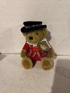 "Authentic Harrod's London Queen's Knight Red Uniform Sitting Teddy Bear 10.5"""