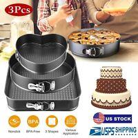 3pcs Nonstick Leakproof Round Cake Pan Set Cheesecake Spring Baking Wedding