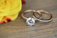 14K Real Rose Gold 1.40Ct Round-Diamond Solitaire Engagement Bridal Ring Set