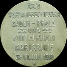 SCHÜTZEN: Silber-Medaille 1910. BADEN - PFALZ VERBANDS-SCHIESSEN KARLSRUHE.