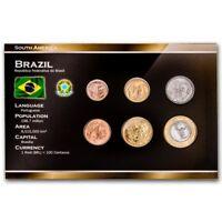 BRAZIL 6 COINS FULL SET: 1, 5, 10, 25, 50 CENTAVOS, 1 REAL 1998-2013 UNC