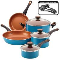11 piece kitchen cookware set copper ceramic nonstick pots and pans cooking set