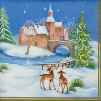 """4x Paper Napkins for Party, Decoupage, Craft """"Vintage Christmas"""