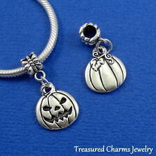 Silver JACK 'O LANTERN Pumpkin Halloween Dangle Bead CHARM fit EUROPEAN Bracelet