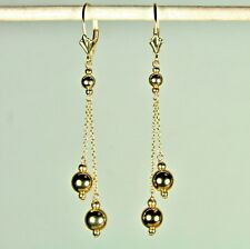 14k solid yellow gold dangle drop ball beautiful earrings leverbacks 1.7 grams