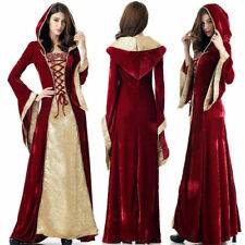 Medieval Burgundy Renaissance Celtic Queen Hooded Cosplay Fancy Dress Costume