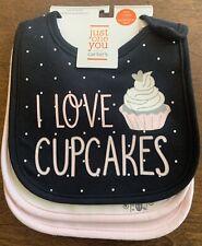 Carters Cupcake/castle/Daddy's Girl Teething Bibs 3 Pack Water Resistant