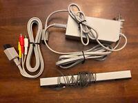 Nintendo Wii Accessories Bundle RVL-002 AC Adapter RVL-014 Sensor Bar A/V Cables