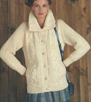 "Ladies Aran Jacket with Collar Knitting Pattern 34-38"" chest   852"