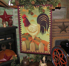 Primitive Antique Vtg Style French Country Farm Rooster Chicken Hen Garden Flag