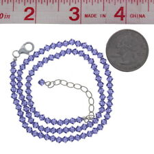 Tanzanite, Necklace, Bicone, 4mm, Sterling Silver, Made with Swarovski Beads