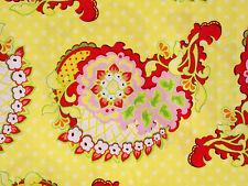 1YD POP GARDEN Paisley HB03 Yellow Polka Dots Heather Bailey Free Spirit Fabric