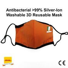 Orange Irish Face Mask reusable over 50 times silver-ion cotton face cover CE