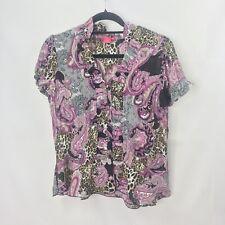 Sunny Leigh Women's PM V Neck High Collar Short Sleeve Paisley Blouse NWOT PINK