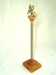 Vintage Yellow Amber Color Bakelite & Metal Cat Pen & Holder