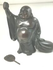 ANTIQUE JAPANESE PATINATED CAST IRON BUDDHA FIGURINE  Prosperity Luck Success
