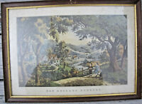 Currier and Ives New England Scenery Lithograph Reprint Framed Lyman Bros Indy