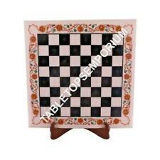 "15"" White Marble Side Coffee Chess Table Top Hakik Inlay Floral Arts Decor M097"