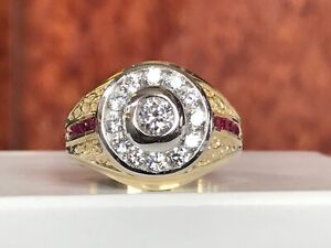14k Yellow Gold Ring with Ruby  Men's Fine Jewelry size 9 3/4