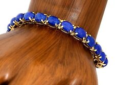 Rare VTG RH & Company Natural Lapis Lazuli Bracelet in 14k Solid Yellow Gold