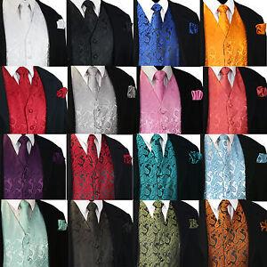 NEW Men's Paisley Design Dress Vest and Neck Tie Hankie Set For Suit or Tuxedo