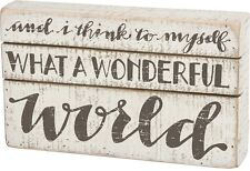"NEW!~Primitive Wood Slat Box Sign~""AND I THINK TO MYSELF WHAT A WONDERFUL WORLD"""