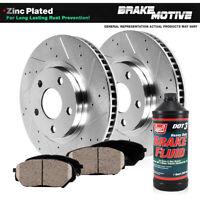 Brake Rotors FULL KIT POWERSPORT BLACK DRILLED SLOTTED Dodge DAKOTA 2003-2004