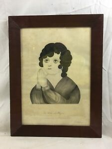 Orig. 18thC NH Folk Art signed R. E.Upham The Child at Prayer Pencil Drawing