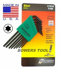 Bondhus 8pc Torx Star L Wrench Set T6-T25 MADE IN USA 31832 ProGuard Protanium