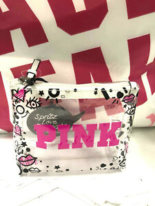 Victoria's Secret PINK Makeup Cosmetic Bag Clear Logo Small NWT