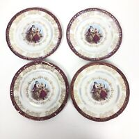 Cosmos Japan VTG Luster Iridescent Decorative Plate Victorian Couple Set Of 4 7""
