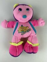 "Vintage 90s Mattel Warm-Ups Bear Plush 14"" Pink Boombox Graphic Workout Fitness"