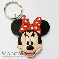 Minnie Mouse Face Keyring - Walt Disney Head Cartoon Rubber Phone Charm Strap