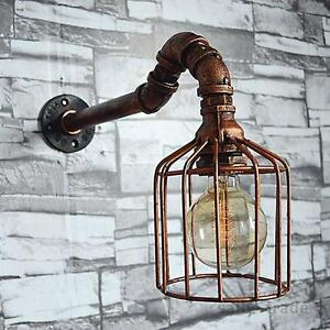 NEW Vintage Industrial Retro Iron Water Pipe Wall Light Sconce Lamp Loft Fixture
