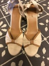 LK Bennett 7 40 Tan Ivory Wedges With Ankle Ties