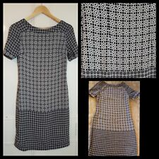 Marks and Spencer Sheath Tunic Size 8 Blue Black White Geometric Floral Print