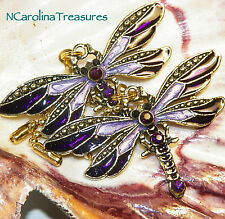 VINTAGE DRAGONFLY ANTIQUE GOLD PURPLE CEILING FAN LIGHT SWITCH PULL LARGE PAIR