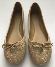 New TORY BURCH Chelsea 7 Stitched Logo Ballet Flats Iced Coffee Gold Minnie Reva