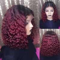 Short Bob Water Wave Curly Lace Front Human Hair Wig Ombre Brazilian Pre plucked
