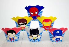 24 PCS SUPERHERO AVENGERS CUPCAKE TOPPERS & WRAPPERS/ PARTY/ BIRTHDAY/ BAT MAN