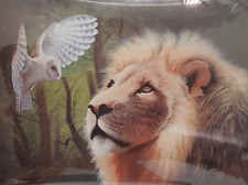 MEETING OF THE MINDS LION AND OWL - 3D MOVING PICTURE 400mm X 300mm
