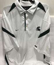 Men Nike Dri-Fit Michigan State Spartans White Golf Polo Shirt Sz. Xxl Ec