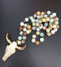Fashion jewelry Amazonite Steer Pendant bead stones Necklace free shipping