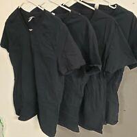 Fruit Of The Loom Men's Lightweight Cotton V-Neck Shirt Multipack,Black 4 Pack,M