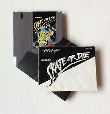 """SKATE OR DIE AUTHENTIC NINTENDO NES 3 SCREW CARTRIDGE. SLEEVE & """"HOW TO PLAY"""""""