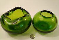 Bohemian Art Glass Cigar Ashtray & Small Flower Bowl Czech Green Hand Blown Vtg