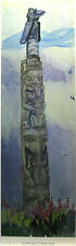 "Emily CARR ""Skedans "" Out of print litho art Totem Pole Queen Charlotte Islands"