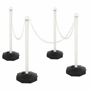White Safety Event Crowd Barrier Security Fence Post Base Set &10m Plastic Chain