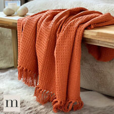 Luxury 100% Cotton Burnt Orange Rust Waffle Check Large Blanket Throw Bed Sofa